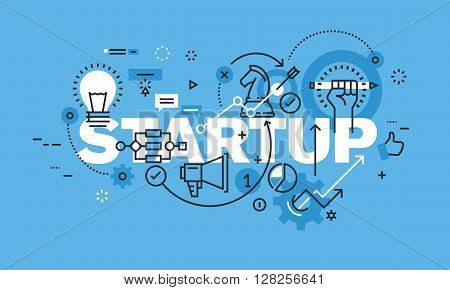 Modern thin line design concept for STARTUP website banner. Vector illustration concept for business startup, new product and service development, startup company, crowdfunding.