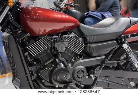 Close Up Of Liquid Cooled V-twin Engine Of Motorcycle