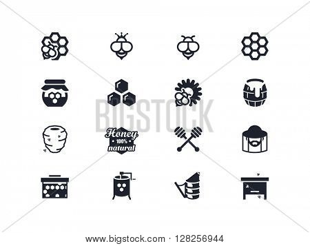 Beekeeping and honey icons. Lyra series