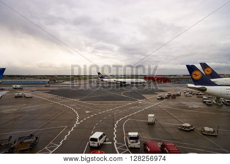 FRANKFURT, GERMANY - APRIL 07, 2016: view from Frankfurt Airport terminal. Frankfurt Airport is a major international airport located in Frankfurt and the major hub for Lufthansa