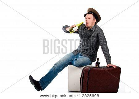 Portrait Of A Drunk Man With A Bottle