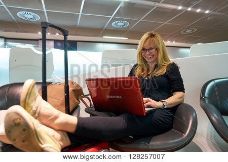 FRANKFURT, GERMANY - APRIL 07, 2016: passenger at Frankfurt Airport. Frankfurt Airport is a major international airport located in Frankfurt and the major hub for Lufthansa
