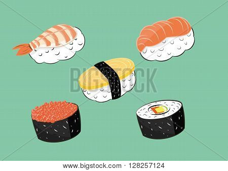 vector illustration of Japanese food sushi set. eps 10