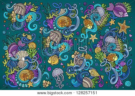 Colorful vector hand drawn Doodle cartoon set of marine life objects and symbols