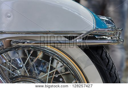 Close Up Rear Fender Of Motorcycle, Indoor Photo.