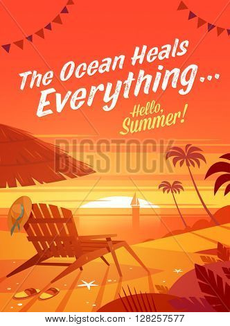 Summer Holidays background. Vector Illustration