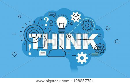 Modern thin line design concept for THINK website banner. Vector illustration concept for thinking process, education, brainstorming
