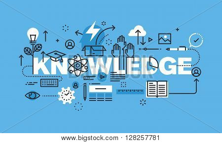 Modern thin line design concept for KNOWLEDGE website banner. Vector illustration concept for university and education.