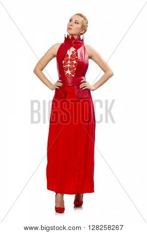 Blond hair model in dress with pomegranate isolated on white