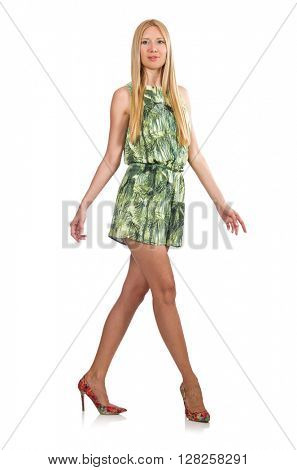 Blond hair woman wearing green short dress isolated on white