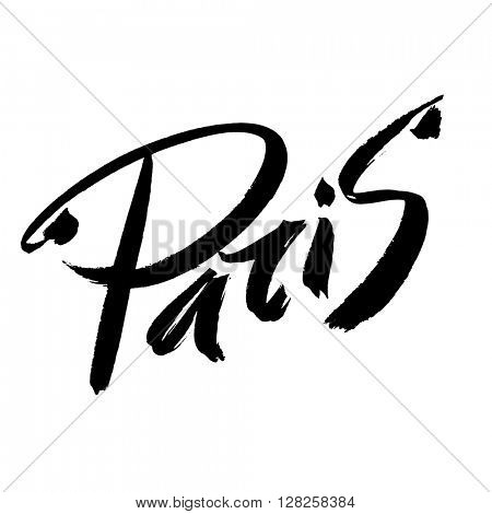 Paris. Black brush lettering on a white background. Creative typography. Paris - hand drawn letters. Lettering and typographic design.