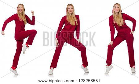 Woman doing exercises isolated on the white