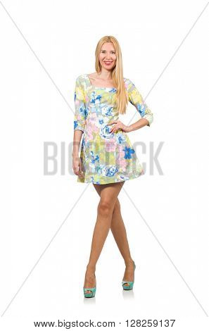 Caucasian woman wearing floral dress isolated on white