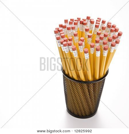 Group of pencils in pencil holder.