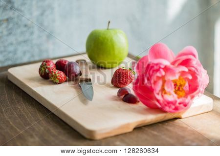 fresh fruits and flower