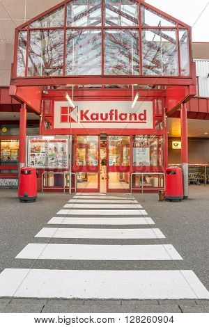 BADEN-BADEN, GERMANY - MAY 2: Entrance to the Kaufland store. Kaufland is a popular supermarket in Germany. Germany, Baden-Baden, May 2, 2016