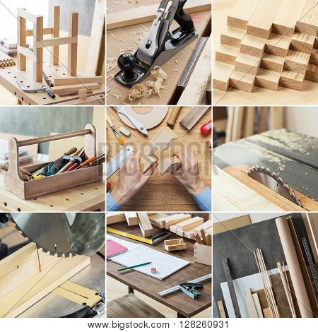 Various woodworking, carpentry, repairing, DIY tools and supplies in set