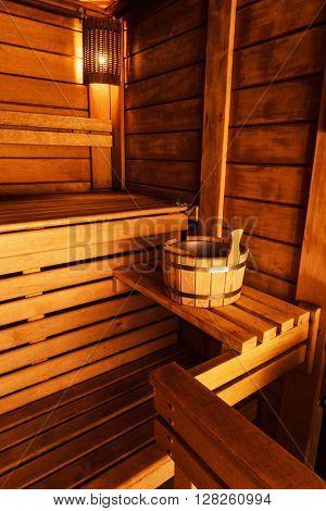 wooden sauna interior