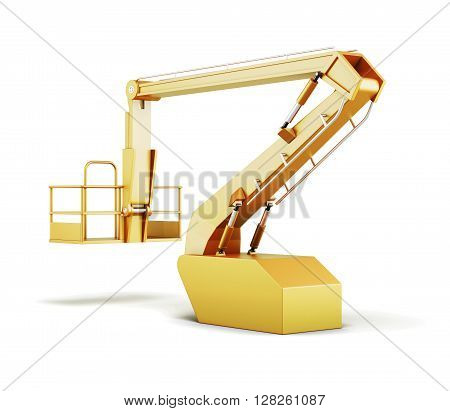 Hydraulic lift machines isolated on white background. 3d rendering.