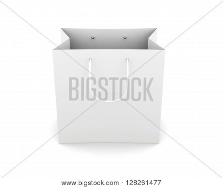 Front view paper bag with handles isolated on white background. Bag for purchase. Paper white bag for your design. 3d rendering.