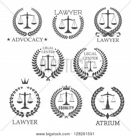 Scales of justice in laurel wreath frames retro symbols for lawyer service, law office, legal center, advocacy design templates, adorned by stars, crowns and ribbon bow design elements