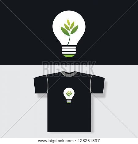 T-shirt Print Design Concept - Eco Bulb With Green Plant