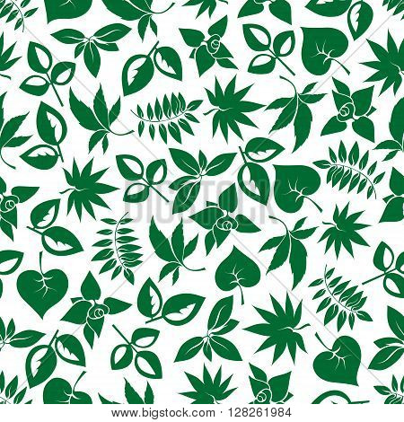 Dark green foliage seamless background for nature theme, retro wallpaper or fabric design with cartoon pattern of various leafy branches
