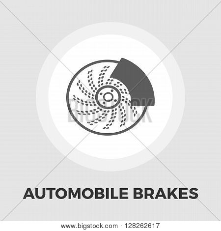 Automobile brakes icon vector. Flat icon isolated on the white background. Editable EPS file. Vector illustration.
