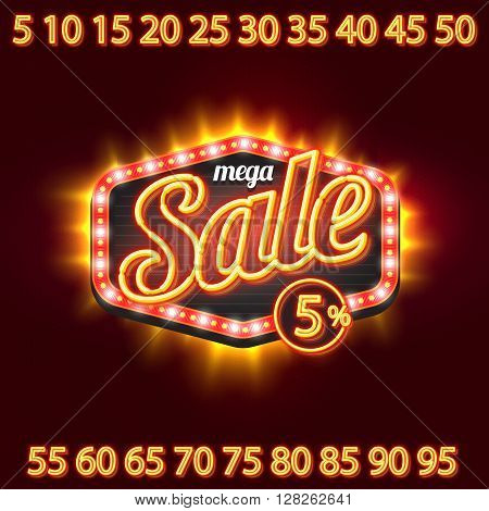 Neon Sale vintage classic banner DIY kit with percent collection of numbers.
