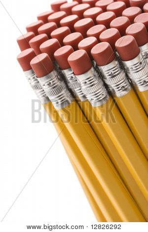 Eraser ends of pencils evenly grouped together.