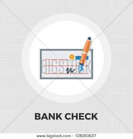 Bank check icon vector. Flat icon isolated on the white background. Editable EPS file. Vector illustration.