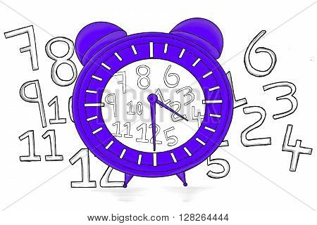 Isolated Clock With Different Numbers Scattered Everywhere Concept