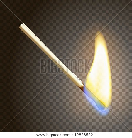 Realistic burning match. Matchstick flame. Transparency grid. Special effect. Ready to apply. Graphic element for documents, templates, posters, flyers. Vector illustration