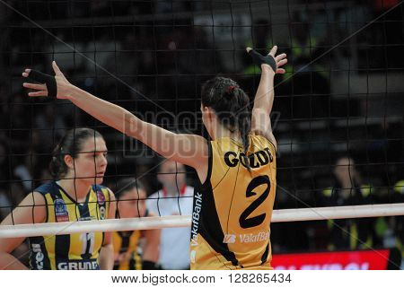 ANKARA/TURKEY-April 30, 2016: Vakifbank's player Gozde Kirdar at the  Baskent Volleyball Hall during the Volleyball Women 1st Laegue of Turkey Final Four matches with Fenerbahce Grundig Team. April 30, 2016-Ankara/Turkey