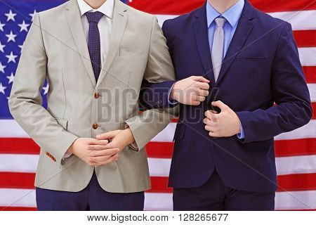 Two homosexuals on American flag background