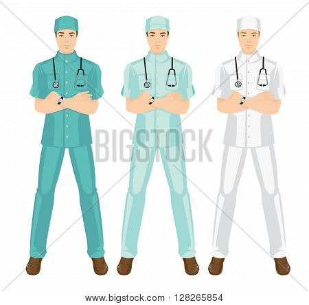 Vector illustration of medical man in medical gown. A young doctor in different color uniform and hat isolated on white background.
