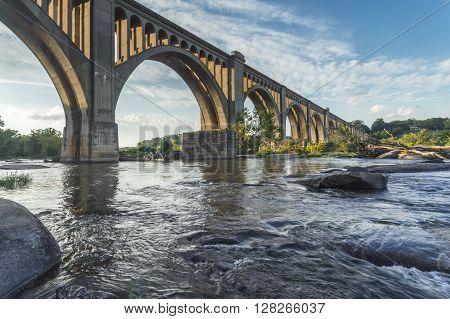 Richmond rairoad bridge crossing the James River.
