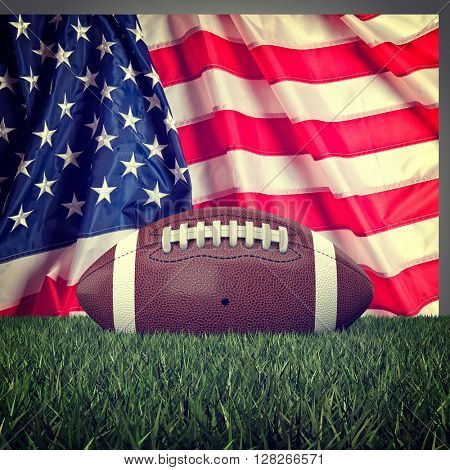 american football ball and old glory 3d