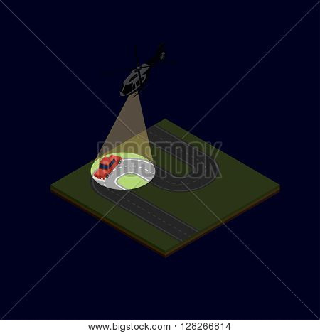 isometric illustration of a helicopter chase after the car with the offender on the night suburban road