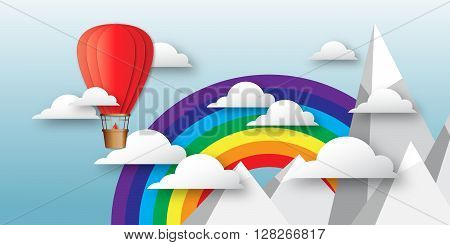 Origami Colorful hot air balloon on the blue sky with cloudsmountains peak and rainbow. Paper Balloon fly to sky. Vector applique illustrations.