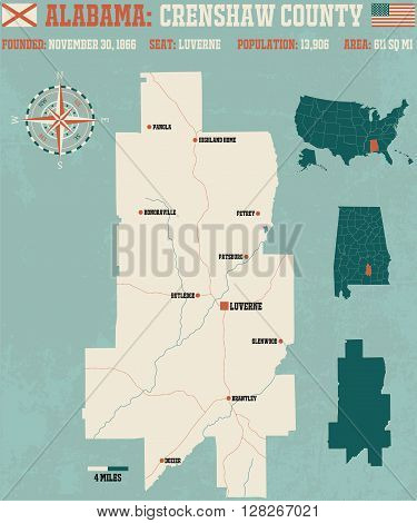 Large and detailed map and infos about Crenshaw County in Alabama