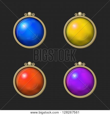Beautiful colorful shiny round set of Game elements. Isolated on the dark background
