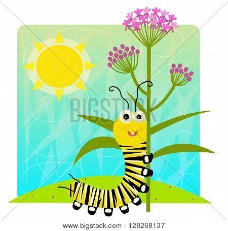 Cute cartoon monarch larva holding flower. Eps10