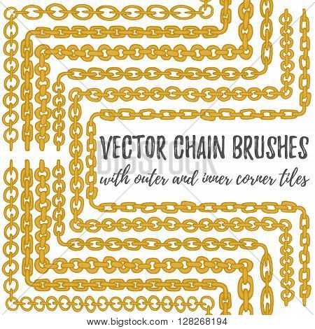 Vector set of 6 hand drawn decorative Chain seamless pattern brushes with outer and inner corner tiles. Golden endless whimsical ink borders. Different gold chain types for frames and decorations