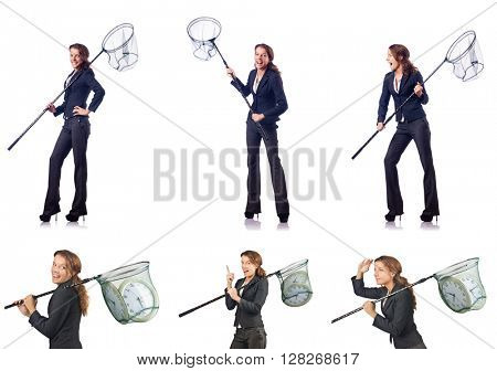 Woman with catching net and clock