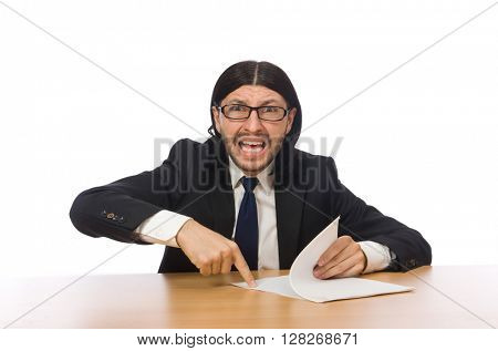 Businessman at workplace isolated on white