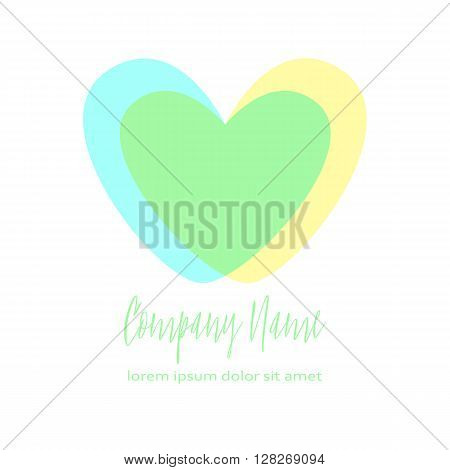 Conceptual Double heart icon. Two crossed hearts. Simple romantic logo. Blue and yellow hearts in intersection form the third green heart. Concept for family, pregnancy, wedding or romantic design.
