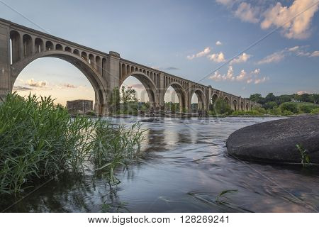 Railroad bridge spanning the James River near Richmond, Virginia.