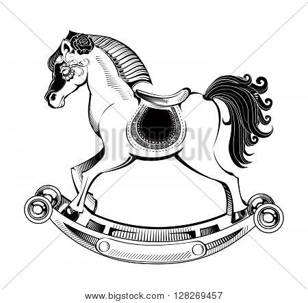 Toy Rocking horse. vector illustration. Toy, childhood