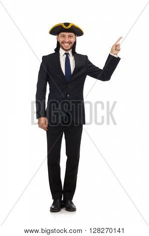 Young businessman wearing tricorn isolated on white